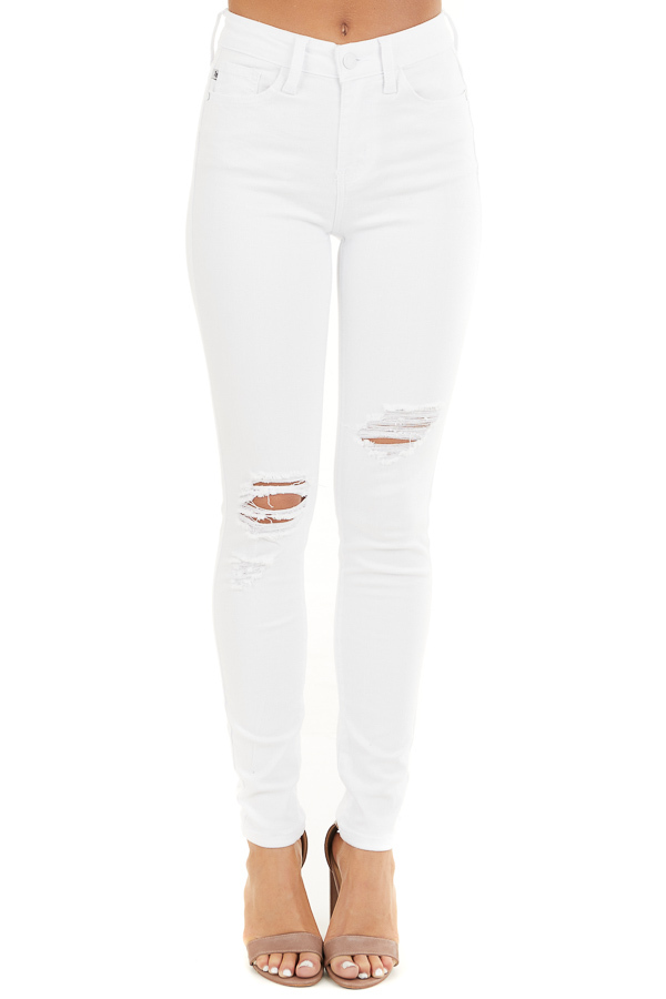 White High Rise Jeans with Distressed Knee Details front view