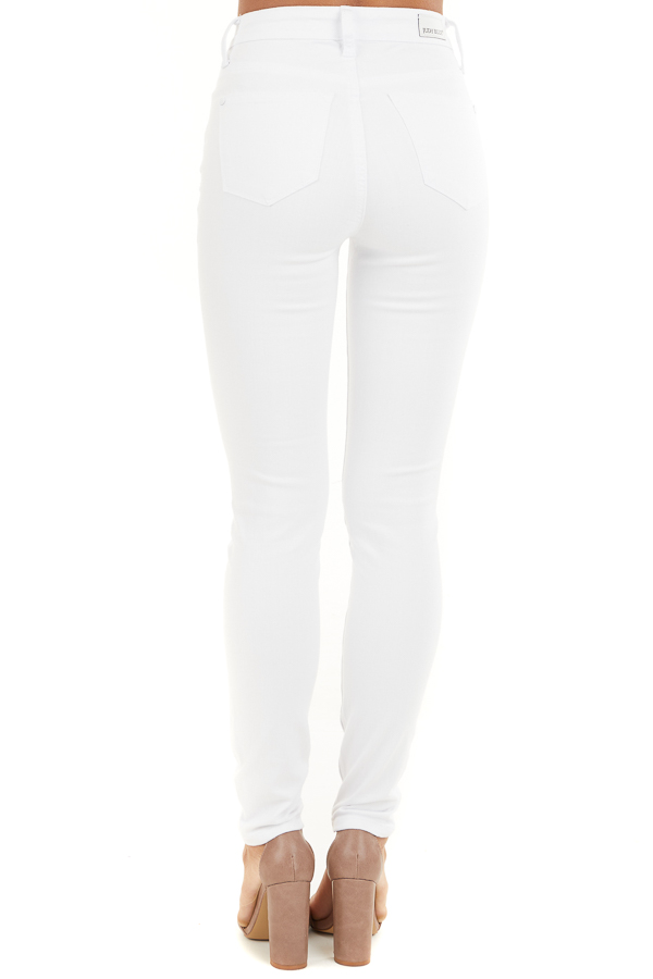 White High Rise Jeans with Distressed Knee Details back view