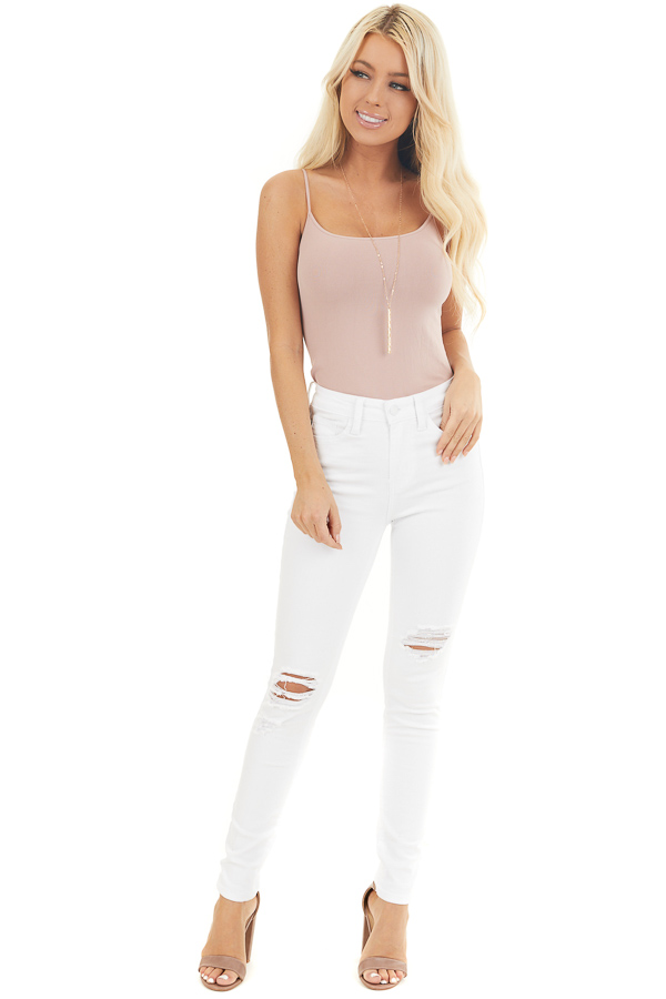 White High Rise Jeans with Distressed Knee Details front full body