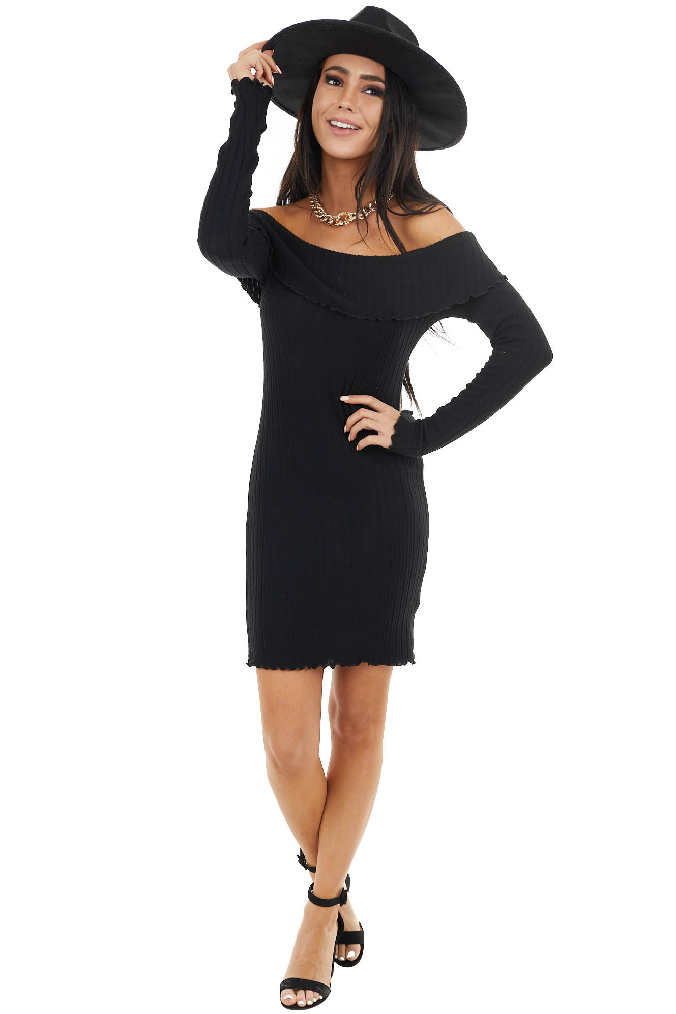 Black Ribbed Knit Off the Shoulder Mini Dress with Ruffles