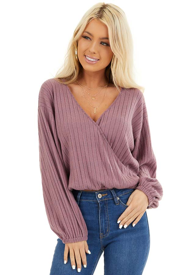 Mauve Ribbed Surplice Knit Top with Long Sleeves front close up