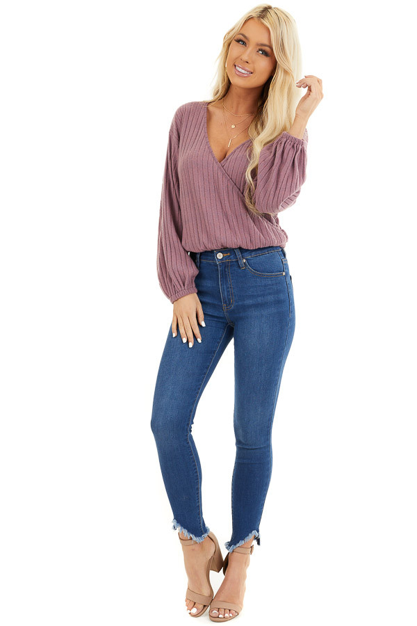Mauve Ribbed Surplice Knit Top with Long Sleeves front full body
