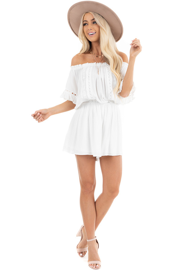 Pearl White Off the Shoulder Romper with Bell Sleeves front full body