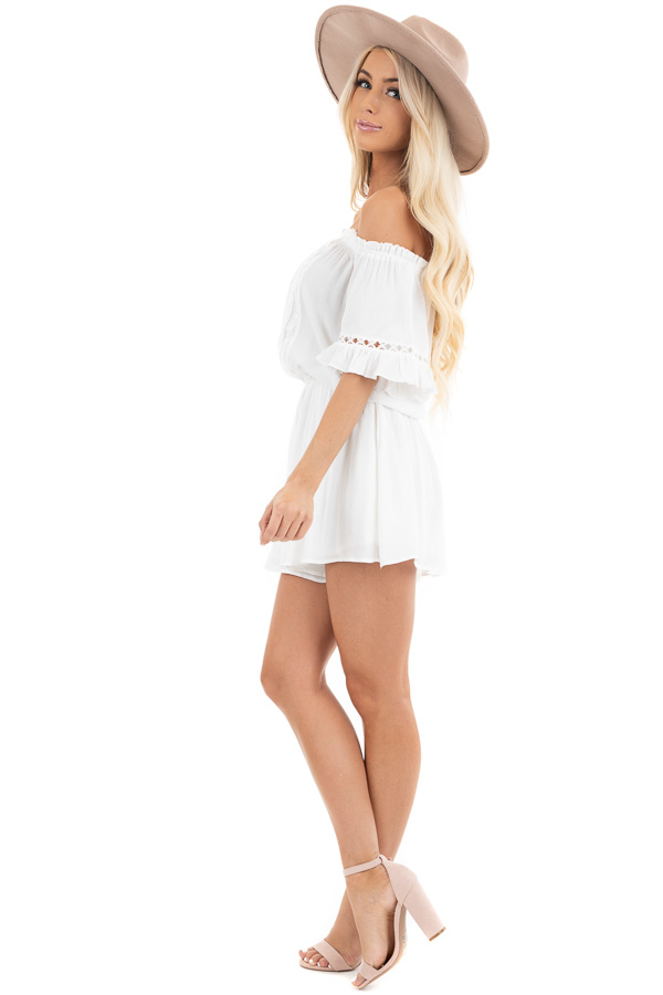 Pearl White Off the Shoulder Romper with Bell Sleeves side full body