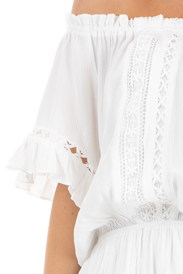 Pearl White Off the Shoulder Romper with Bell Sleeves detail