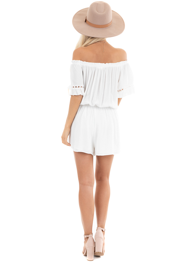 Pearl White Off the Shoulder Romper with Bell Sleeves back full body