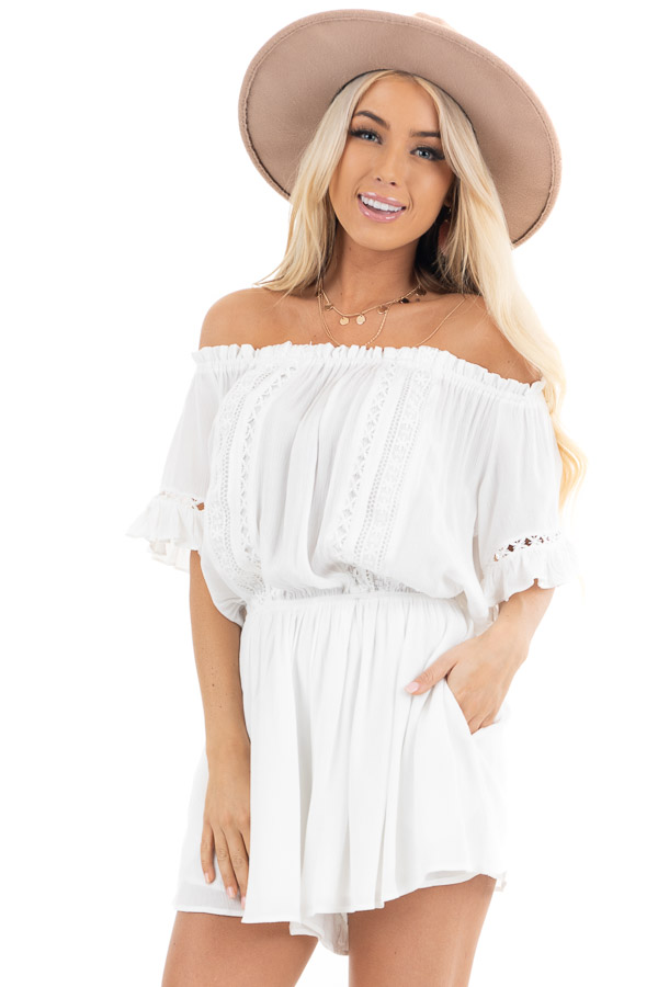 Pearl White Off the Shoulder Romper with Bell Sleeves front close up