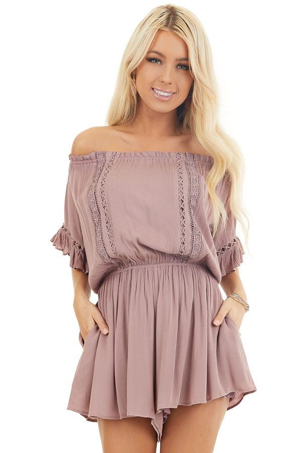 Mauve Off the Shoulder Romper with Bell Sleeves front close up