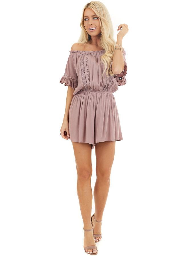Mauve Off the Shoulder Romper with Bell Sleeves front full body