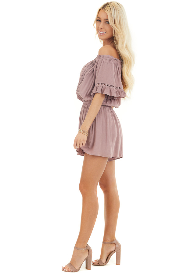 Mauve Off the Shoulder Romper with Bell Sleeves side full body
