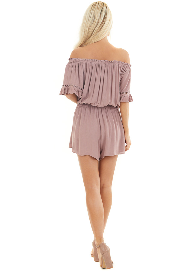 Mauve Off the Shoulder Romper with Bell Sleeves back full body