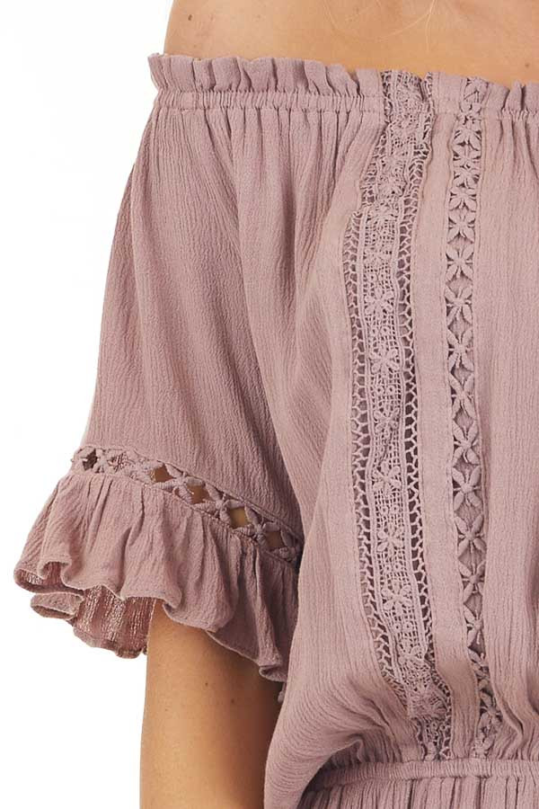 Mauve Off the Shoulder Romper with Bell Sleeves detail