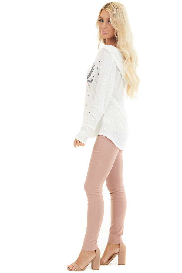 Ivory Ribbed Long Sleeve Hoodie with Floral Graphic Design side full body