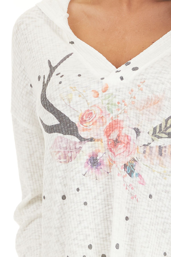 Ivory Ribbed Long Sleeve Hoodie with Floral Graphic Design detail
