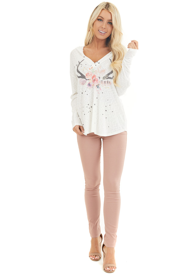 Ivory Ribbed Long Sleeve Hoodie with Floral Graphic Design front full body