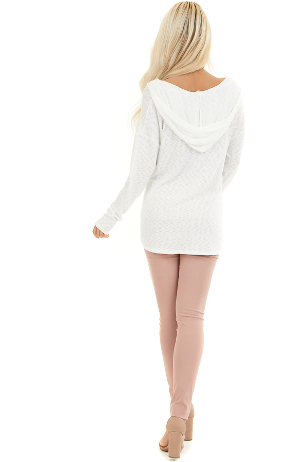 Ivory Ribbed Long Sleeve Hoodie with Floral Graphic Design back full body