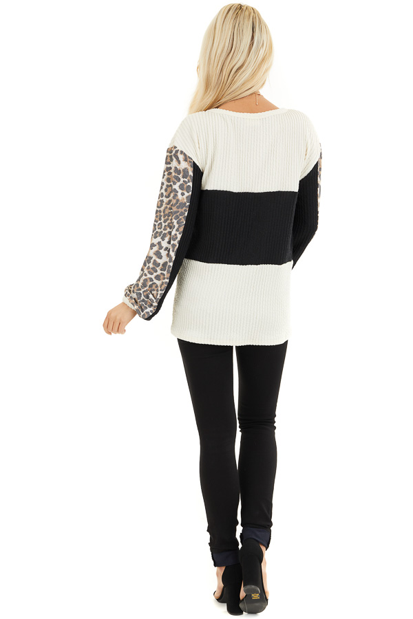 Cream and Black Knit Top with Long Leopard Print Sleeves back full body