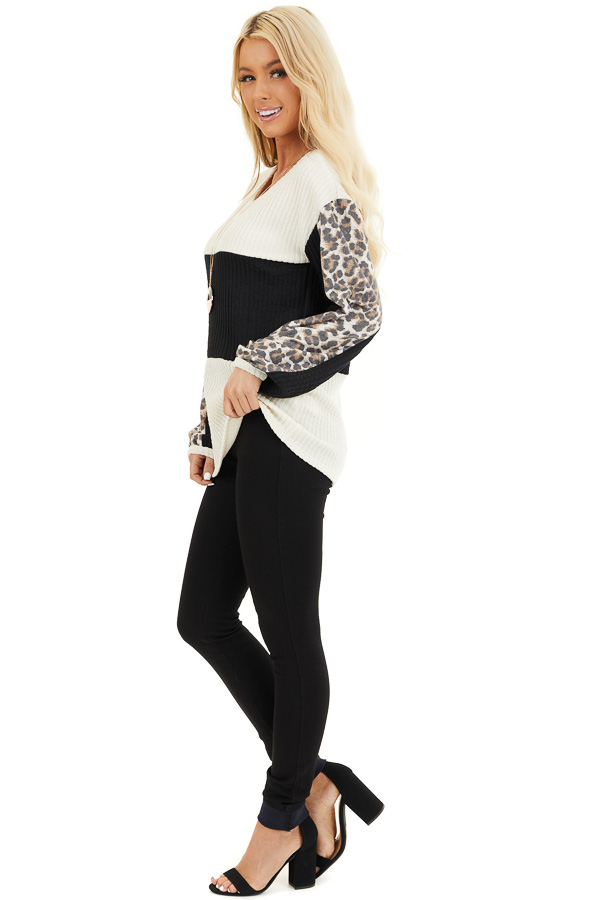 Cream and Black Knit Top with Long Leopard Print Sleeves side full body