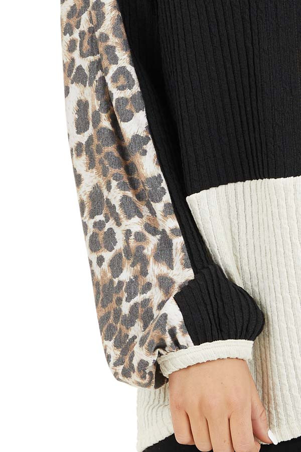 Cream and Black Knit Top with Long Leopard Print Sleeves detail