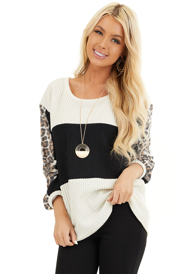 Cream and Black Knit Top with Long Leopard Print Sleeves front close up