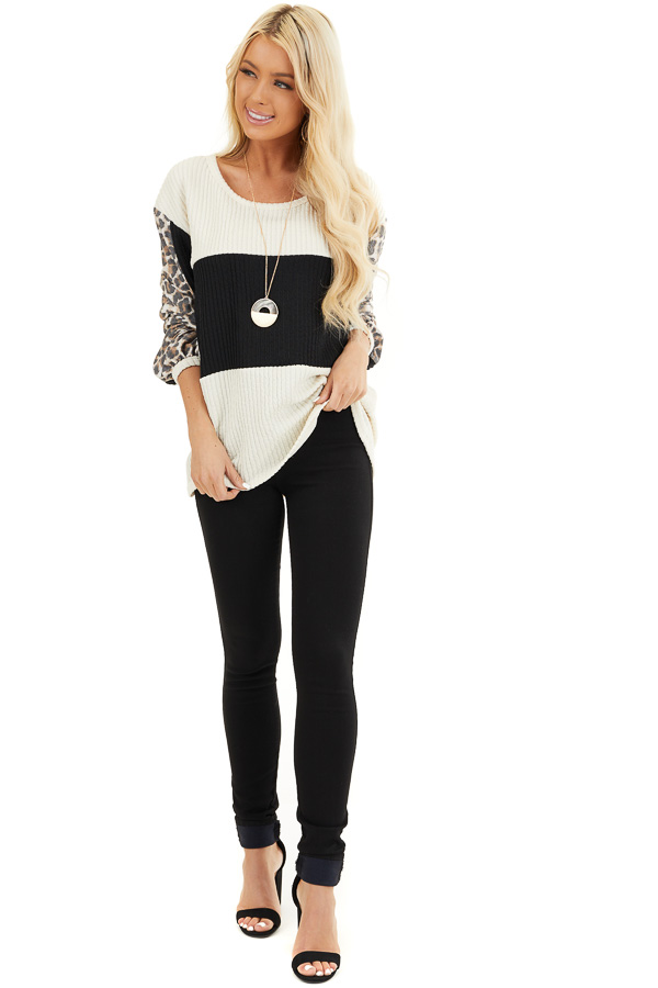 Cream and Black Knit Top with Long Leopard Print Sleeves front full body