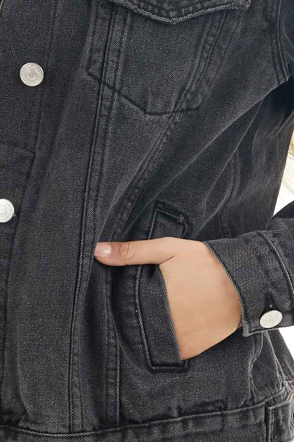 Charcoal Grey Button Up Denim Jacket with Long Sleeves detail