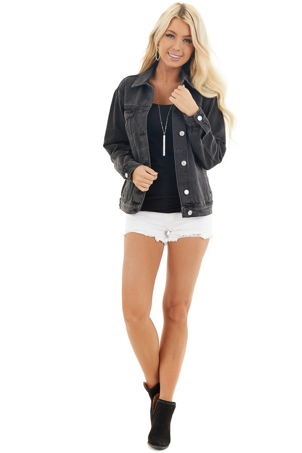 Charcoal Grey Button Up Denim Jacket with Long Sleeves front full body