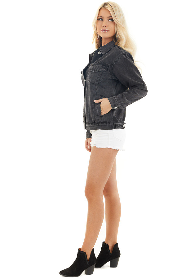 Charcoal Grey Button Up Denim Jacket with Long Sleeves side full body