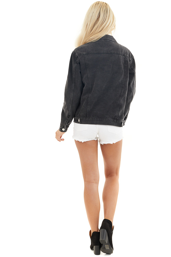Charcoal Grey Button Up Denim Jacket with Long Sleeves back full body