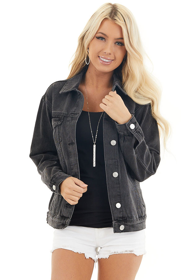 Charcoal Grey Button Up Denim Jacket with Long Sleeves front close up