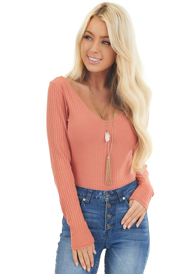 Terracotta Deep V Ribbed Bodysuit with Long Sleeves front close up