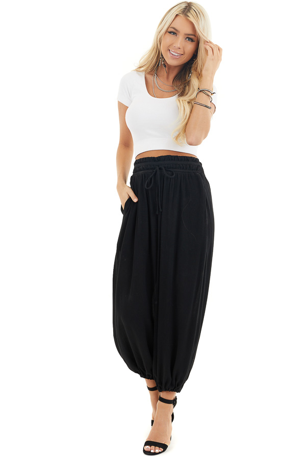Black High Waisted Loose Pants with Elastic Hem front full body