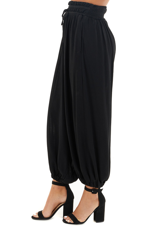 Black High Waisted Loose Pants with Elastic Hem side view