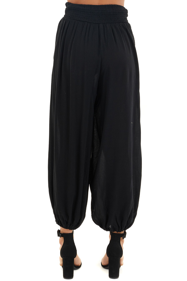 Black High Waisted Loose Pants with Elastic Hem back view