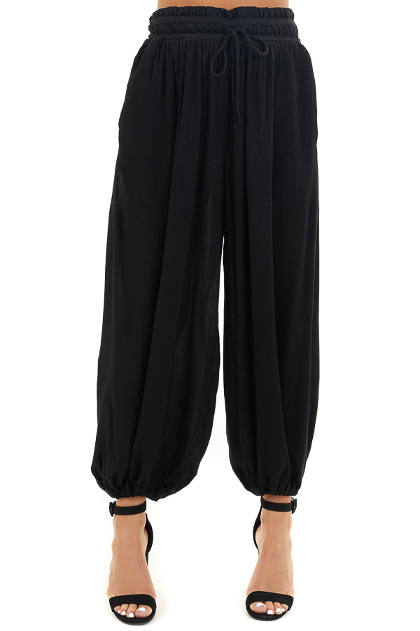 Black High Waisted Loose Pants with Elastic Hem front view
