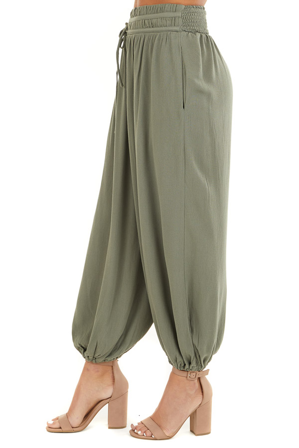 Faded Olive High Waisted Loose Pants with Elastic Hem side view
