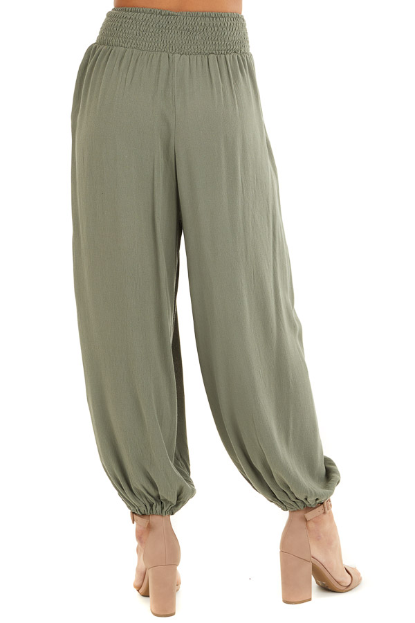 Faded Olive High Waisted Loose Pants with Elastic Hem back view
