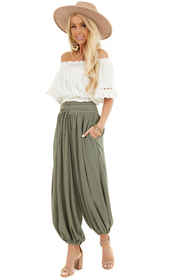 Faded Olive High Waisted Loose Pants with Elastic Hem front full body