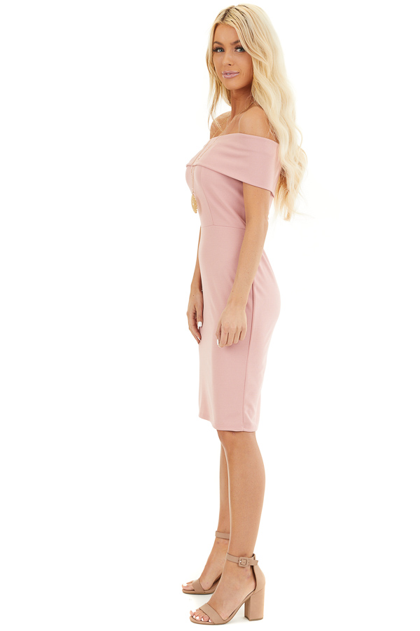 Dusty Blush Off the Shoulder Bodycon Dress side full body