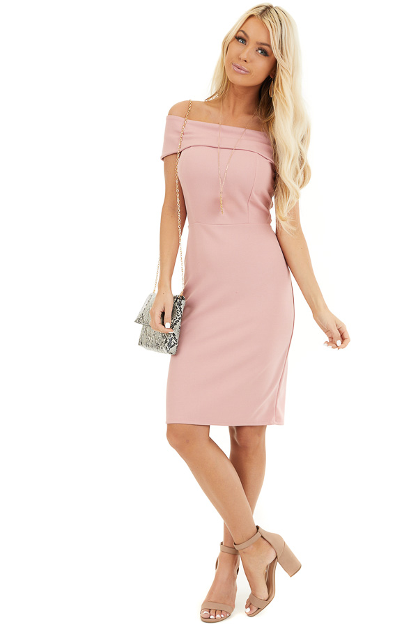 Dusty Blush Off the Shoulder Bodycon Dress front full body