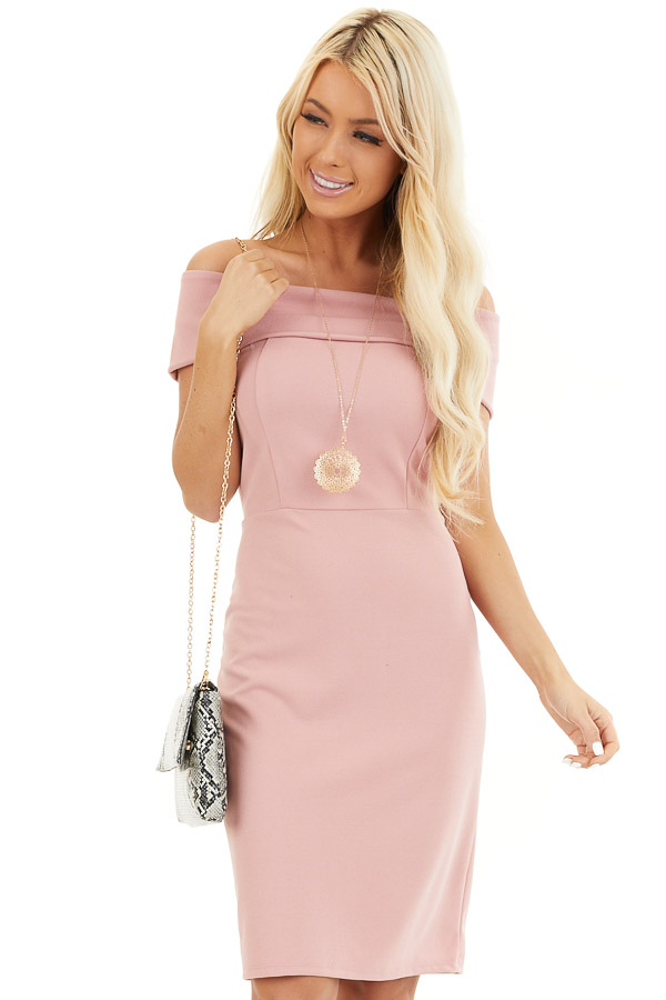 Dusty Blush Off the Shoulder Bodycon Dress front close up