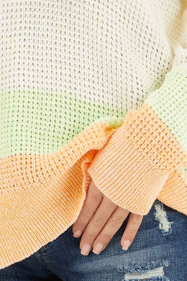 Cream and Bright Tangerine Textured Knit Sweater with Hood detail