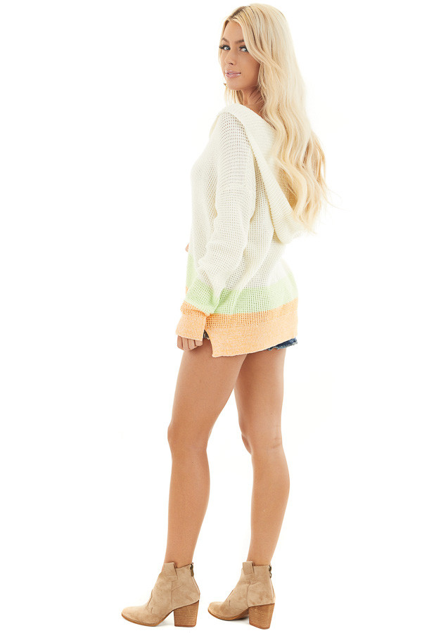 Cream and Bright Tangerine Textured Knit Sweater with Hood side full body