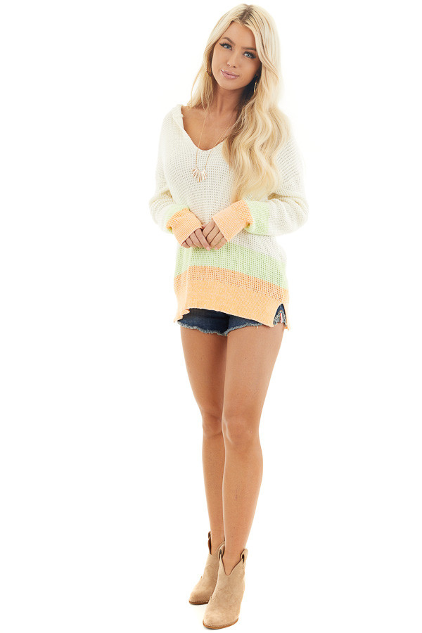Cream and Bright Tangerine Textured Knit Sweater with Hood front full body