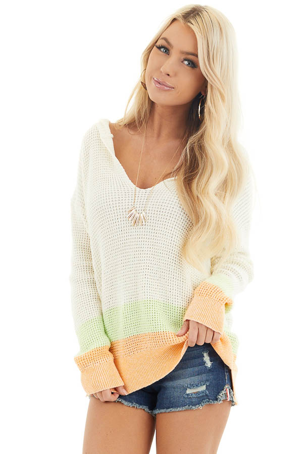 Cream and Bright Tangerine Textured Knit Sweater with Hood front close up