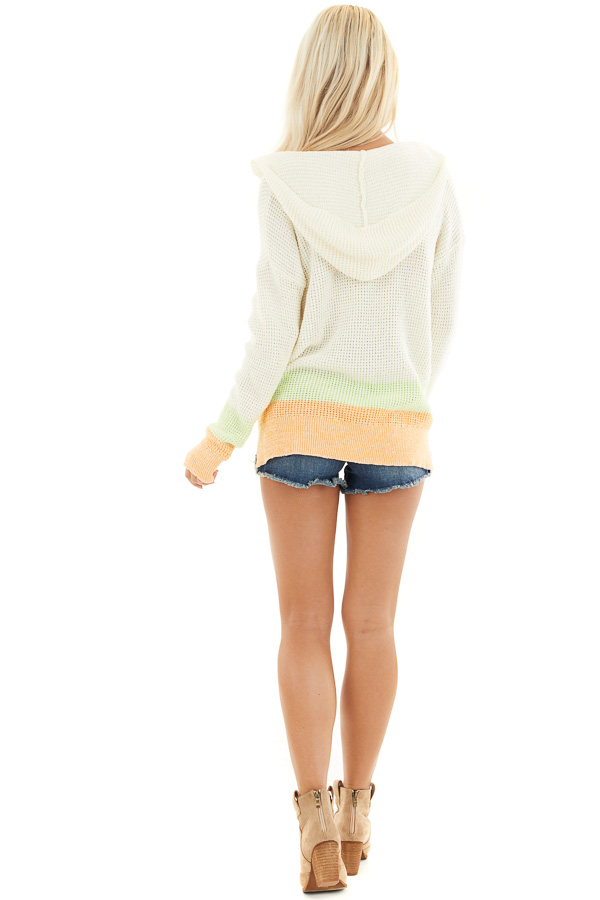 Cream and Bright Tangerine Textured Knit Sweater with Hood back full body