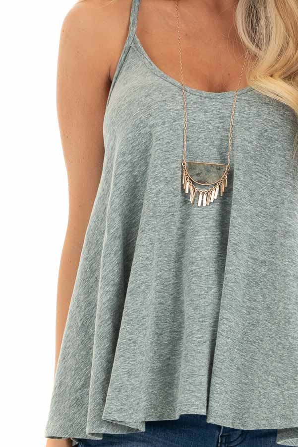 Heathered Green Loose and Flowy Tank with Round Neckline detail