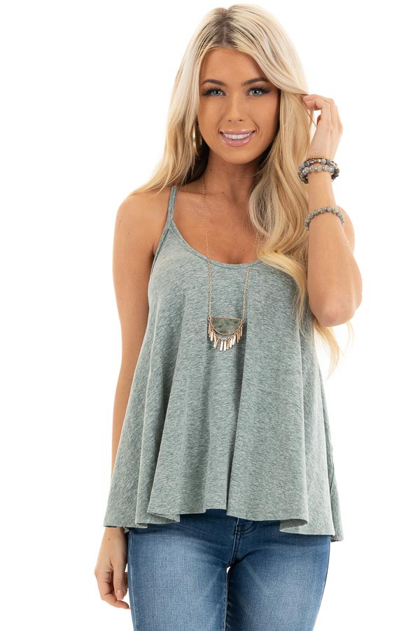 Heathered Green Loose and Flowy Tank with Round Neckline front close up