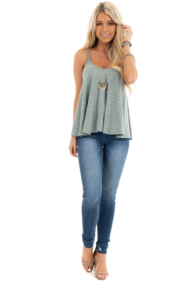 Heathered Green Loose and Flowy Tank with Round Neckline front full body