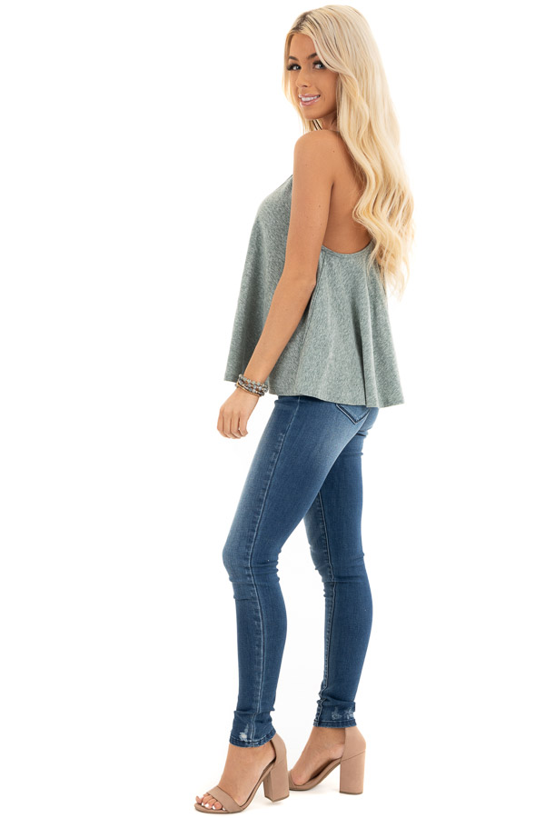 Heathered Green Loose and Flowy Tank with Round Neckline side full body